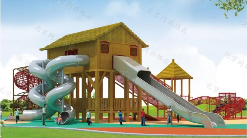 厂家直销优质木质拓展滑梯 实木组合滑梯 造型户外园林景观滑梯 儿童游乐园设施