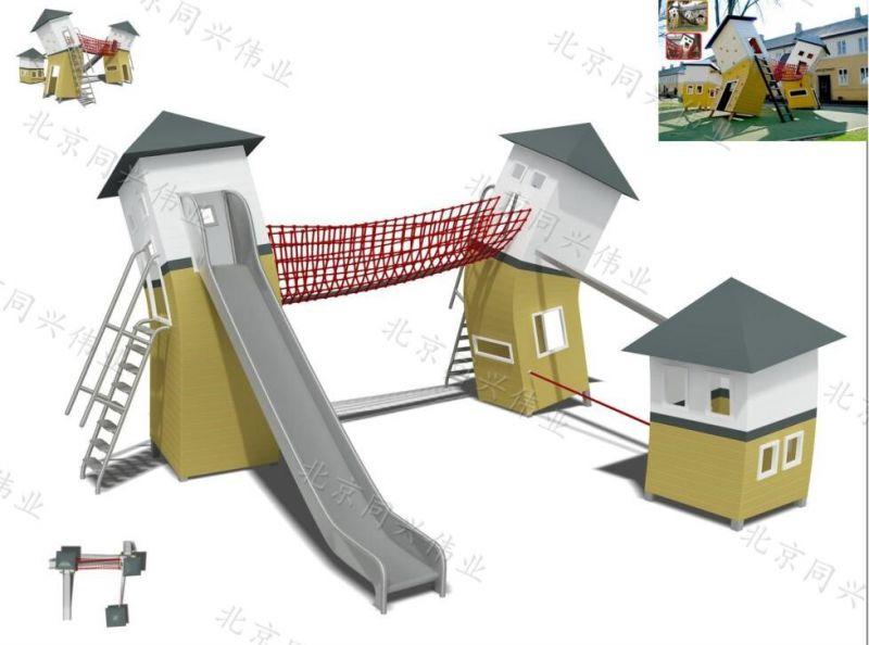 度假村木质滑梯 动物造型滑梯组合 创意木质拓展爬网 幼儿园户外玩具设计 北京同兴伟业直销定制