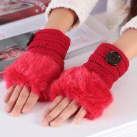 韩版可爱保暖纽扣毛绒半指手套多色可选 仿兔毛露指保暖毛线手套