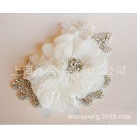 厂家定做新娘头饰 珠绣发饰 串珠发箍 手工布花发夹 亮片发带发圈