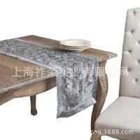 厂家加工手工刺绣桌旗 手工串珠餐桌垫 绣花台布 丝绸钉珠桌旗