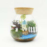 植宠 O型大号微景观高硼硅玻璃瓶 苔藓生态瓶专用器皿批发 带木塞