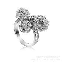 锌合金压铸戒指 新款镶钻球水晶戒指 高档金属首饰