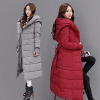 冬季新款品牌女装韩版时尚加长款羽绒棉衣连袖假手套配腰带W11N72