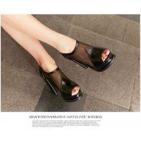 厂家直销网纱女鞋新款2015夏季女式高跟鞋防水台鱼嘴粗跟凉鞋