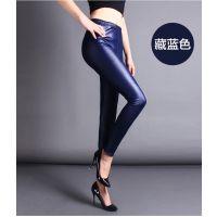 秋季新款薄款糖果色仿皮皮裤 韩版女士外穿时尚显瘦小脚裤 长裤