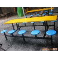 新款限量特价学生员工食堂餐桌十人位圆凳玻璃钢餐桌快餐小吃店餐桌厂家直销