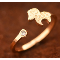 开运本命年18K玫瑰金小羊镶钻羊铜钱开口戒指女韩版彩金
