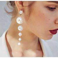 个性简约大小人造珍珠长款耳环女韩国百搭潮人大气耳坠时尚配饰品