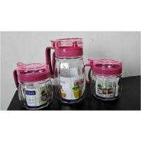 西安玻璃油壶 盐罐 酱醋瓶 玻璃油瓶 厨房用品三四件套宣传印字