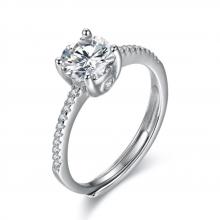 韩版925纯银微镶钻石开口订婚求婚戒指银饰品厂家来图加工定做
