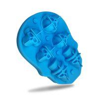 跨境爆款 3D6孔骷髅头冰格DIY 6连骷髅硅胶冰格食品级冰模带盖现货