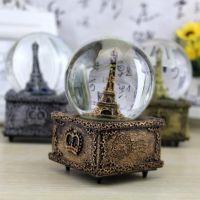 复古巴黎埃菲尔铁塔水晶球旋转雪花音乐盒 八音盒礼品批发