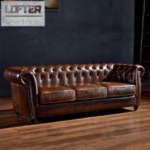 美式乡村真皮拉扣沙发欧式客厅家具123组合售楼部服装店KTV沙发