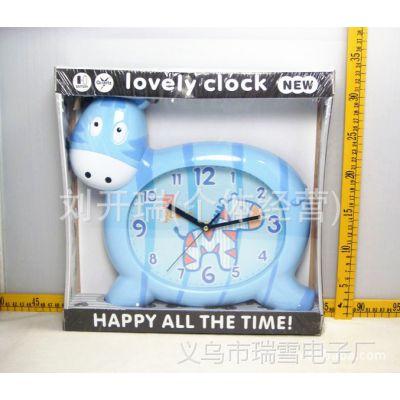 可爱卧室客厅房间钟表卡通创意小斑马儿童挂钟学校挂钟批发 407