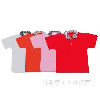 【厂家定做】儿童方格领T恤衫纯棉圆领广告衫 幼儿园六一文化衫