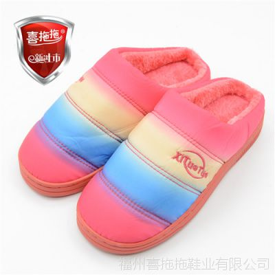 喜拖拖冬季防雨布棉拖鞋保暖 半包跟家居棉鞋厂家批发男女拖14D8