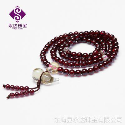 纯天然酒红石榴石+黄水晶葫芦108颗佛珠手链 美容养颜 保平安