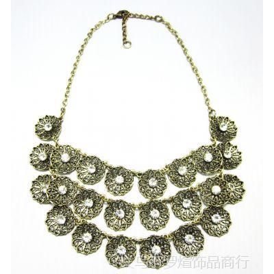 外贸爆款欧美时尚高品质珠宝镶钻女性锁骨夸张项链