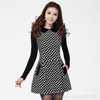 2015秋冬装新款女装韩版修身气质OL长袖毛呢打底连衣裙