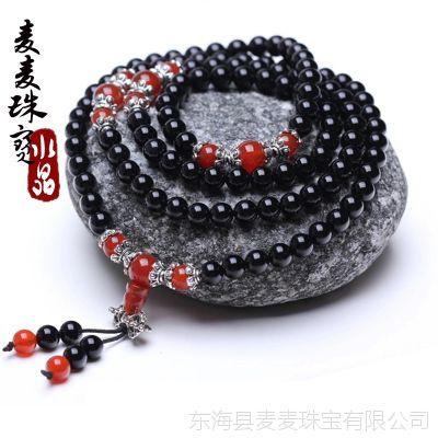 麦麦珠宝 ***水晶黑玛瑙手链 批发 女款饰品108颗佛珠纯天然