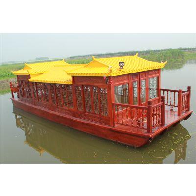 传统手工木船,旅游观光船,豪华双龙餐饮画舫船,景观商务船,景区客船