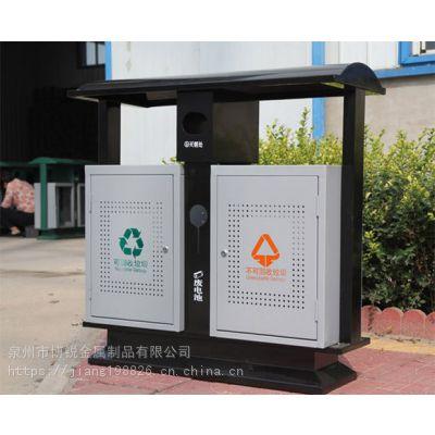 户外旅游景区仿古铜钢制垃圾桶 公园特色分类钢板垃圾桶垃圾箱