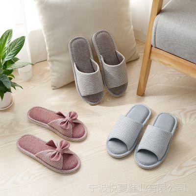 条纹蝴蝶结情侣木地板拖鞋 情侣家居日式男女布艺拖鞋 防滑室内麻