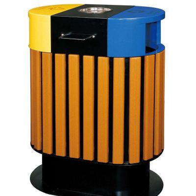 方形钢木分类回收箱 户外木条景观钢木垃圾桶 双桶果皮箱 批发