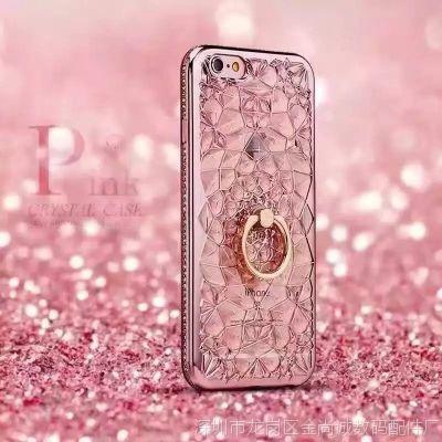 新款苹果8IPHONE X 3D钻石花太阳花电镀镶钻支架S8 S9P水钻手机壳